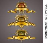 set of golden royal shields...   Shutterstock .eps vector #533491966
