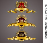 set of golden royal shields... | Shutterstock .eps vector #533491978