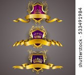 set of golden royal shields... | Shutterstock .eps vector #533491984