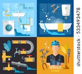 plumbing service set.... | Shutterstock .eps vector #533493478