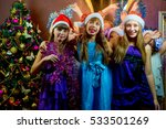 group of cheerful young girls... | Shutterstock . vector #533501269