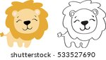 Stock vector drawing of a cartoon cute toy lion in color and line art 533527690
