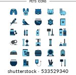 vector flat line icons with pet ...   Shutterstock .eps vector #533529340