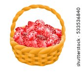 isolated basket with red rubies.... | Shutterstock .eps vector #533536840