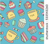 tea time seamless pattern with... | Shutterstock .eps vector #533543260