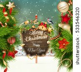 wooden banner with christmas... | Shutterstock .eps vector #533546320