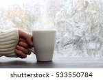 white mug with a hot drink in... | Shutterstock . vector #533550784