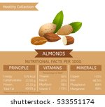 almonds health benefits. vector ... | Shutterstock .eps vector #533551174