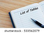 list of tables text written on... | Shutterstock . vector #533562079