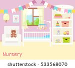 baby room interior. flat design.... | Shutterstock .eps vector #533568070
