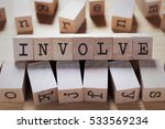 Small photo of Involve Word In Wooden Cube