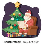 santa claus read gift list sit... | Shutterstock .eps vector #533576719