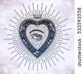 ornate mystic eye inside the... | Shutterstock .eps vector #533593558