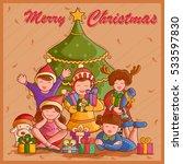 vector design of kid with gift...   Shutterstock .eps vector #533597830