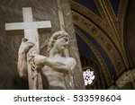 Small photo of Rome, Italy - September 22, 2011: The Cristo della Minerva, also known as Christ the Redeemer, Christ Carrying the Cross or the Risen Christ, is a marble sculpture by Michelangelo, finished in 1521.