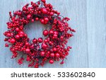 Christmas Red Wreath  On White...