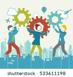 business process cog assembly | Shutterstock .eps vector #533611198