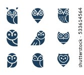 Stock vector owl glyphs icons collection set of elements and emblems design elements for schools educational 533614564