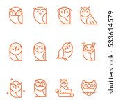 Stock vector owl outline icons collection set of outline owls and emblems design elements for schools 533614579