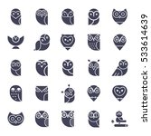 Stock vector owl glyphs icons collection set of elements and emblems design elements for schools educational 533614639