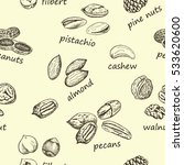 nuts vintage seamless | Shutterstock .eps vector #533620600