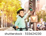 boy cycling on his bike and... | Shutterstock . vector #533624230