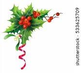 christmas holly border isolated ... | Shutterstock .eps vector #533625709