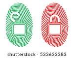 color fingerprint. lock. vector ...   Shutterstock .eps vector #533633383