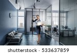 woman with laptop in hands .... | Shutterstock . vector #533637859