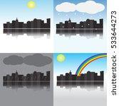 city under different weather... | Shutterstock .eps vector #533644273