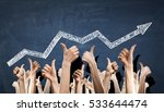 group of people rise hands .... | Shutterstock . vector #533644474