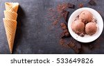 plate of chocolate ice cream... | Shutterstock . vector #533649826