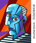 Cubist Great Painter Face...