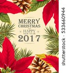 christmas card with poincettia | Shutterstock .eps vector #533660944