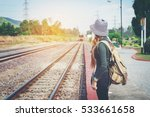traveler woman walking and...   Shutterstock . vector #533661658