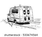 ambulance car sketch. vector... | Shutterstock .eps vector #533674564