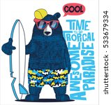cute surfer  bear vector design ... | Shutterstock .eps vector #533679334