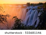 victoria falls at sunset.... | Shutterstock . vector #533681146