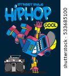 cool retro robot doing hip hop... | Shutterstock .eps vector #533685100