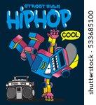 cool retro robot doing hip hop... | Shutterstock .eps vector #533685100