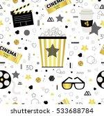 cinema. golden seamless pattern ... | Shutterstock .eps vector #533688784