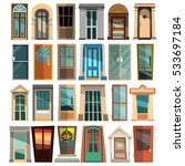 set of beautiful front doors in ... | Shutterstock .eps vector #533697184
