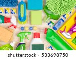cleaning supplies on wooden... | Shutterstock . vector #533698750