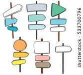 vector set of direction post | Shutterstock .eps vector #533700796