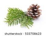 fir tree branch and cones... | Shutterstock . vector #533708623