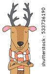 quirky cartoon reindeer wearing ... | Shutterstock .eps vector #533736190