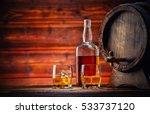 Two Glasses Of Whiskey  Bottle...