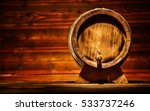 Wooden Round Barrel With Old...