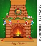 christmas card with a decorated ... | Shutterstock .eps vector #533742490