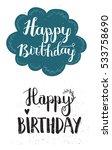set of happy birthday hand... | Shutterstock .eps vector #533758690
